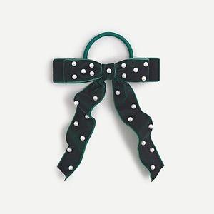 NWT J. Crew Velvet bow hair tie with pearls
